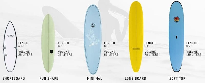 surfboard type and size guide